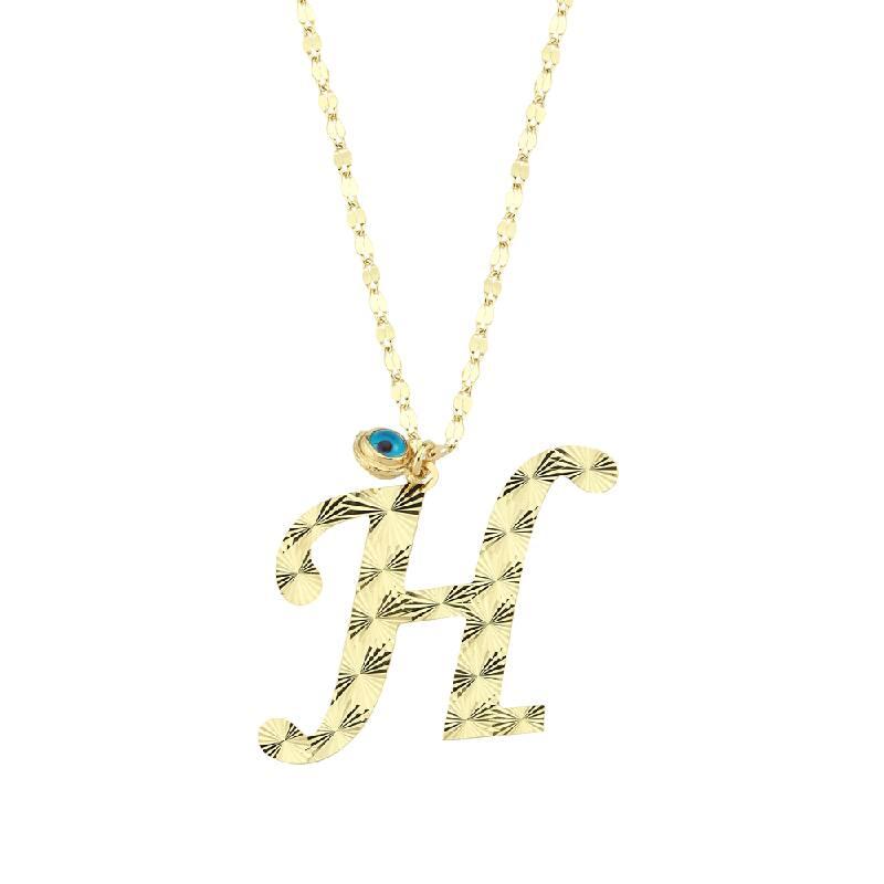 Nazar Boncuklu Altın Harf H Kolye