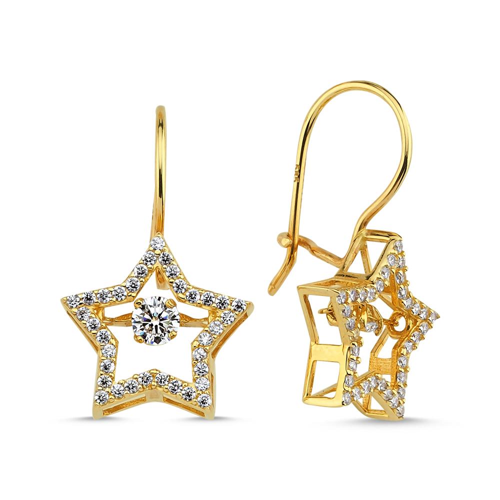 Yıldız Formlu Altın Küpe