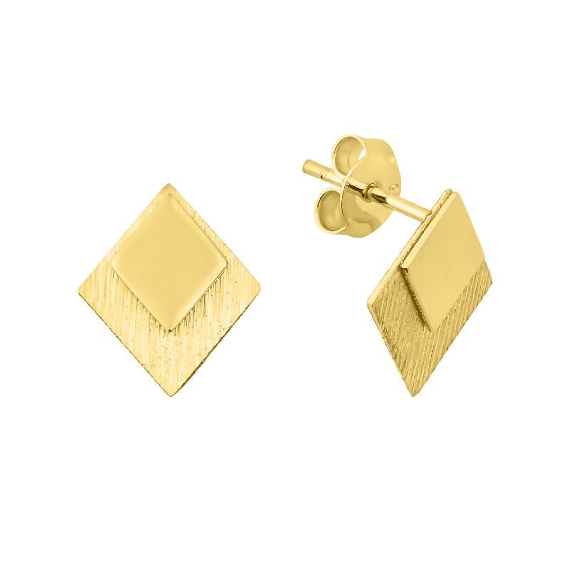 Geometrik Şekilli Taşlı Altın Küpe