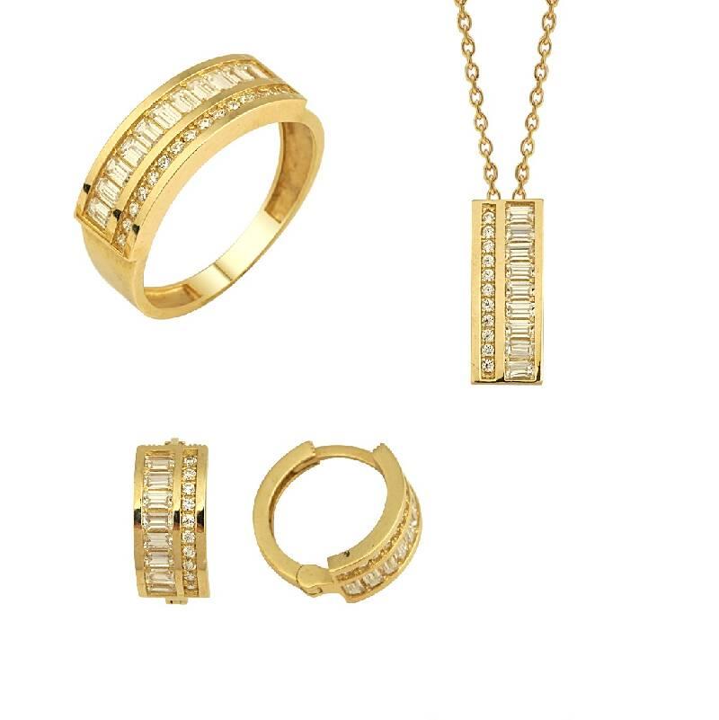 Baget Taşlı Altın Set