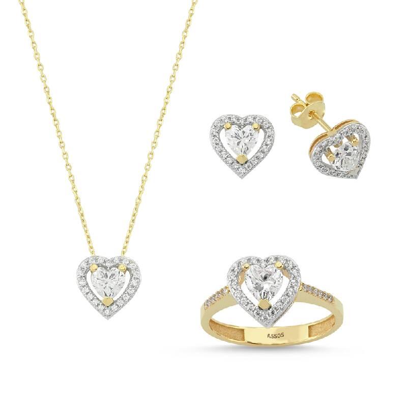 Kalpli Taşlı Altın Set