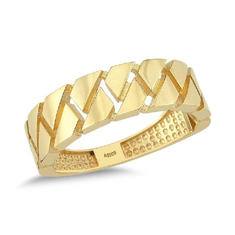 Zincir Formlu Altın Yüzük