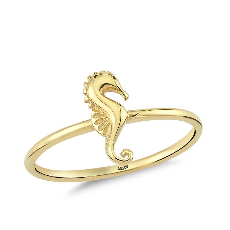Deniz Atı Figürlü Altın Yüzük