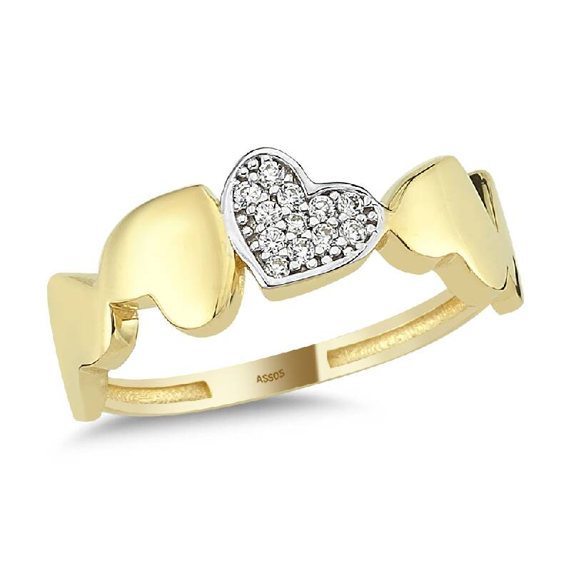 Kalpli Taşlı Altın Yüzük