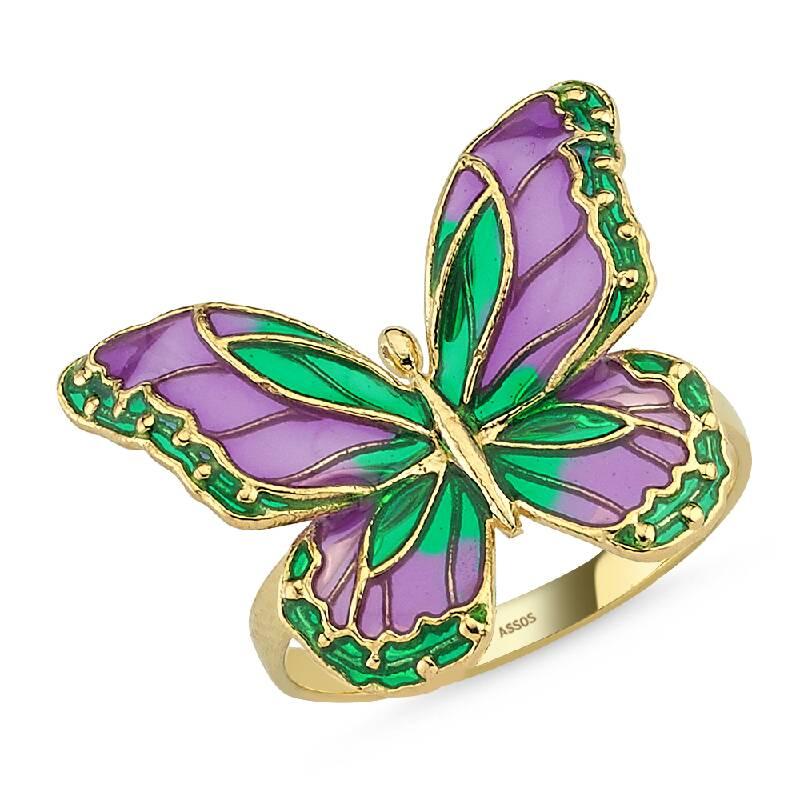 İtalyan Tasarım Altın Kelebek Yüzük