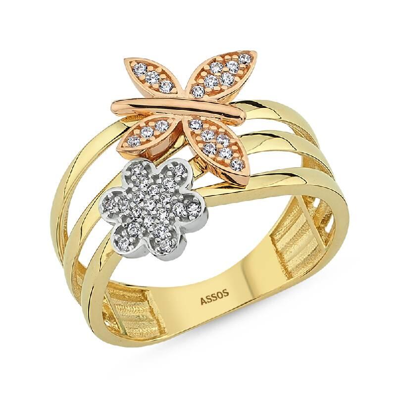 Kelebek ve Çiçek Figürlü Altın Yüzük