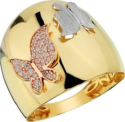 Kelebekli Taşlı Altın Yüzük