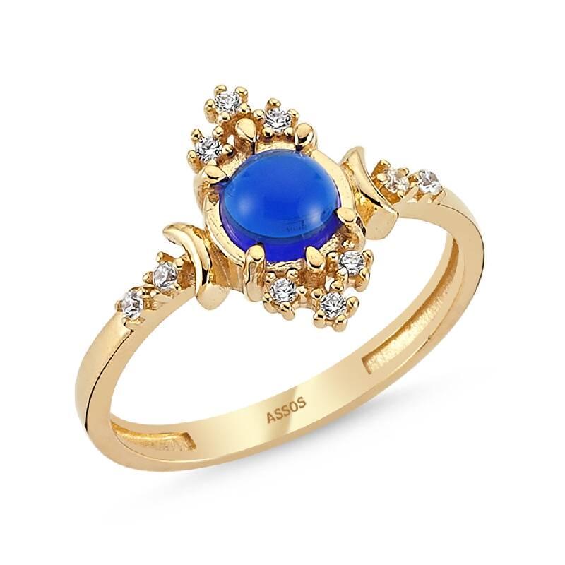 Mavi Taşlı Altın Yüzük