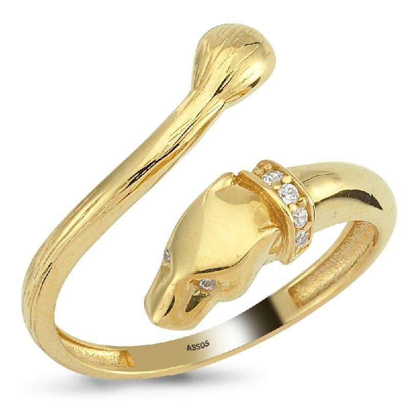 Panter Başlı Taşlı Altın Yüzük