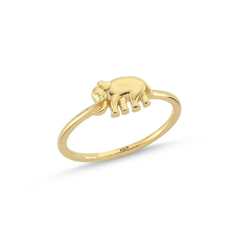Fil Figürlü Bereket Altın Yüzük