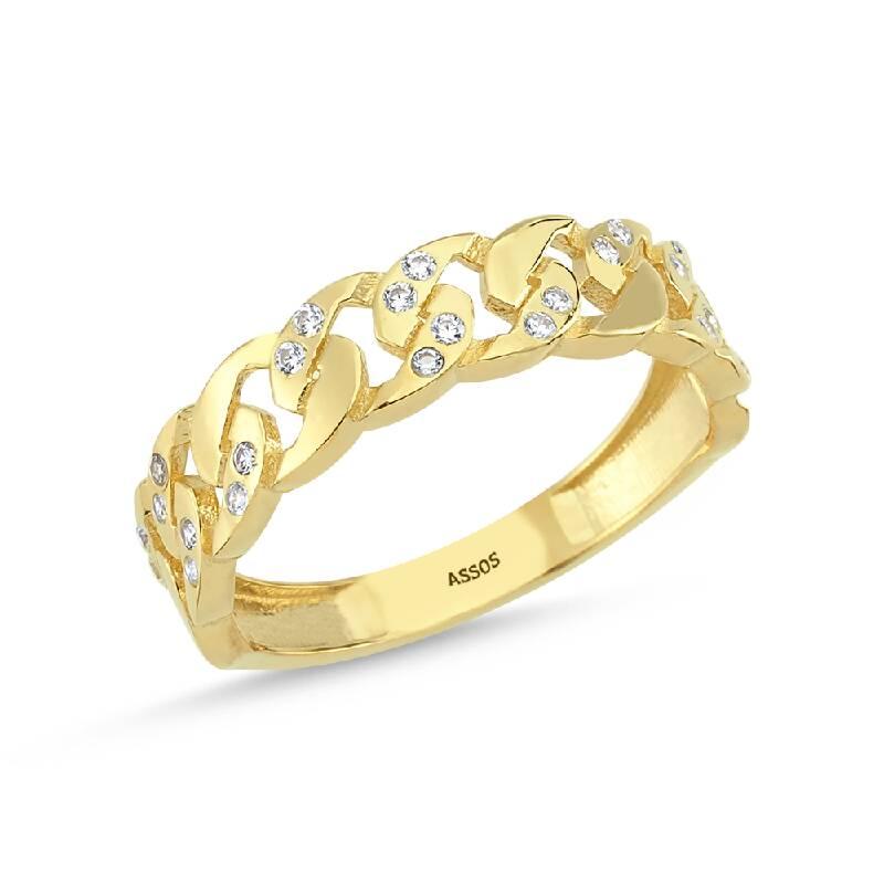 Zincir Formlu Taşlı Altın Yüzük