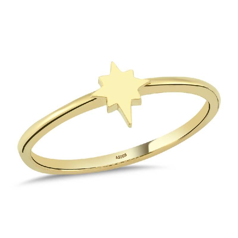 Kutup Yıldızı Figürlü Altın Yüzük