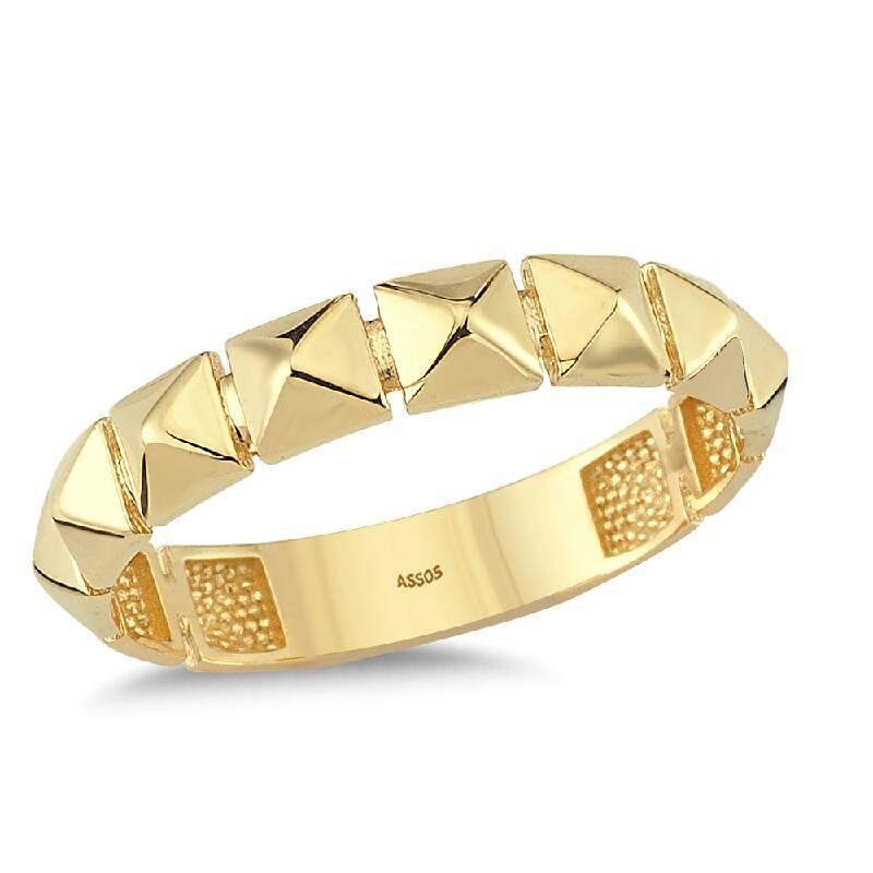 Piramit Formlu Altın Yüzük