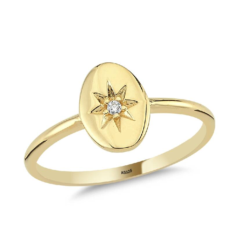 Kutup Yıldızı Taşlı Altın Yüzük